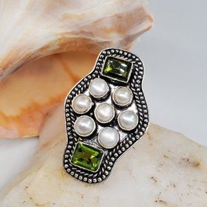 Large Cocktail Silver Ring natural Period Pearl